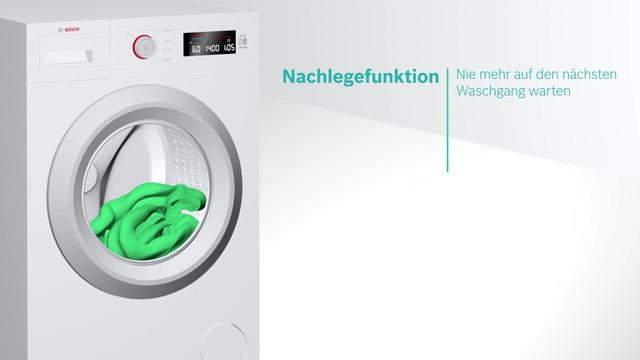 Bosch - Nachlegefunktion - Hinzufügen von Kleidungsstücken auch nach Start des Waschprogramms Video 9