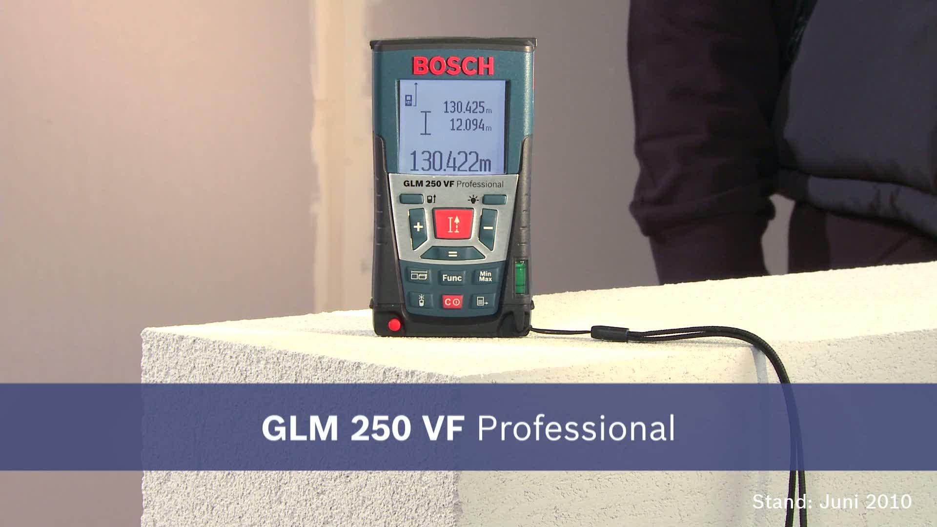 Bosch Entfernungsmesser Bedienungsanleitung : Glm 250 vf laser entfernungsmesser bosch professional