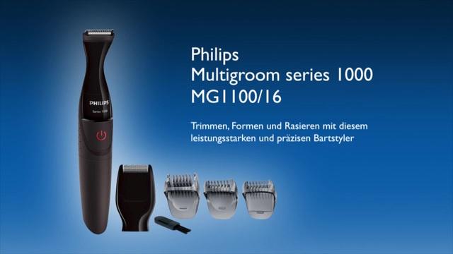 Philips Multigroom series 1000 Besonders präziser Bartstyler MG1100/16 DualCut-Präzisionstrimmer, Detailrasiereraufsatz, Video 3